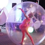 The DLE Las Vegas Cirque Troupe 11 water spheres on land