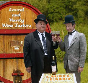 laurel and hardy lookalikes wine tasters