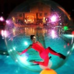 The DLE Las Vegas Cirque Troupe 12 water sphere in pool