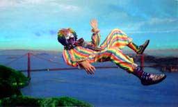 interactive clown floating over bridge