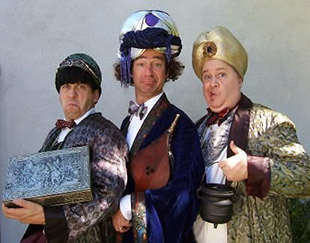 three stooges lookalikes in arabic costumes